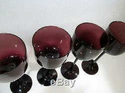 Vtg CARLO MORETTI Empoli MIDCENTURY Amethyst 4 Long Stem Wine GOBLETS Murano