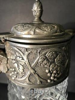 Vtg Cut Glass Silver Plated Claret Decanter Wine Pitcher Repousse Bacchus 11 H
