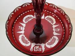 Vtg Czech EPERGNE Bohemian Egermann Wine Ruby Red Cut Crystal Center Piece Bowl