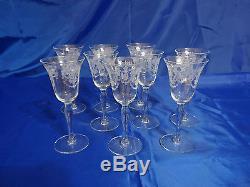 Vtg ETCHED LADY LEG STEM Claret Wine Glasses Set of 9