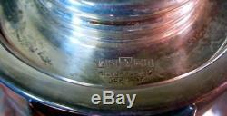 Vtg GERMAN Silverplate & Crystal Water Wine Claret Pitcher Barware Ice Insert
