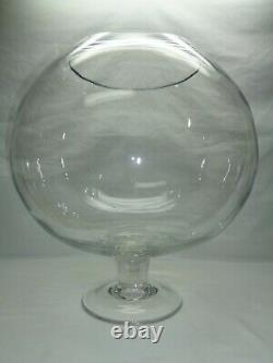 Vtg Huge Art Glass Goblet Fish Bowl Terrarium Vase Beer Wine Snifter Bar Decor