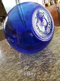 Vtg Large 23 Italian BLUE Glass Demijohn Carboy Wine Bottle Plastic Protector