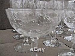 Vtg Lot 16 Vintage Antique Cut Etched Champagne Wine Water Sherbert Glasses