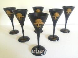 Vtg MID Century Japan Rare Black Lacquer Gilded Trees Wine Stem Glasses 6pc Set