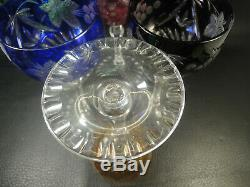 Vtg. Multi-color, Cut to Clear Nachtmann Traube Crystal Wine Glasses-set of 6pcs