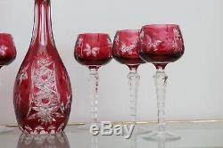 Vtg Nachtmann Traube Cut To Clear Crystal Decanter 6 X Wine Glasses Ruby Red