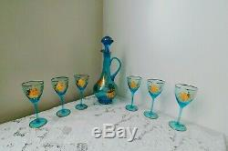 Vtg Romanian Glass Wine Decanter with6 Blue Matching Wine Glasses withGold Overlay