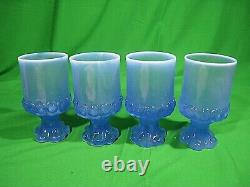 Vtg Set Franciscan Tiffin Madeira Opalescent Blue Goblets Wine Glasses RARE