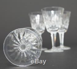 Vtg Set of 4 Waterford Cut Crystal Lismore Claret Wine Goblets Hock Stemware