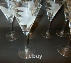 Vtg Set of 8 WATER WINE Champagne STEMS Etched Dorothy THORPE Barware GLAM