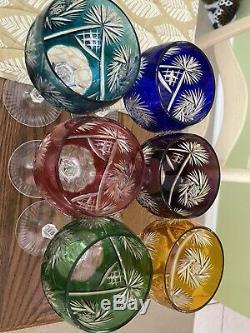 WOW! Vintage 6 Bohemian Czech Crystal Cut to Clear Wine Goblet Stem Glass 8 1/4