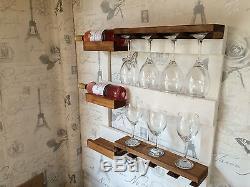 Wall Mounted Wine Rack bottle holder glass shelves vintage farmhouse style bnibF