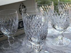 Waterford Crystal Boyne Claret Wine Glasses Set of 6 Vintage in Original Box