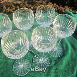 Waterford Crystal Carina Wine Hocks Vintage Irish Cut Glass Complete Set 6 Stems