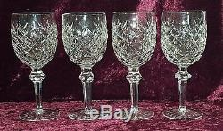 Waterford cut crystal glass vintage Art Deco antique 4 large wine glass goblets
