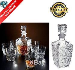 Whiskey Decanter Crystal Bottle Wine Liquor Vintage Glass Scotch Stopper Bar