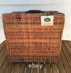 Wicker Picnic Basket Optima 2-Person Wine And Cheese Vintage Willow Suitcase