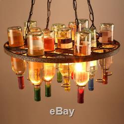 Wine Bottle Retro Chandeliers Glass Bottle Chai Pendant Light Industrial Vintage
