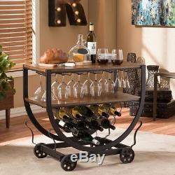 Wine Cart with Glass Storage Wood Medium Brown Bronze Vintage Industrial Furniture