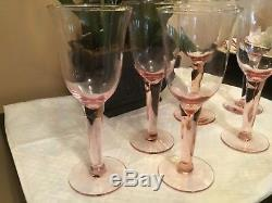 Wine Glasses 6 Pink Depression Glass Hand Blown Vintage Mint Condition Rare Find