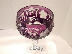 Wine Glasses Cut Vintage Fine Crystal Multi Colored 5 Piece Beautiful Set
