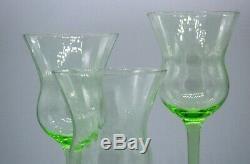 Wine Glasses Vintage Depression Vaseline Green Glass Set of 4 Optic Ribs Flare