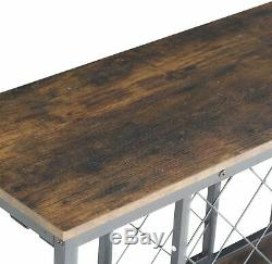 Wine Rack Table with Glass Holder, Vintage Industrial Wine Bar Cabinet