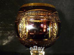 Wonderful Vintage Moser Amethyst Cabochon & Gilt Cut Glass Wine Goblet