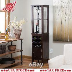 Wood Wine Cabinet Vintage Floor Bottle Glass Holder Display Storage Rack Tower